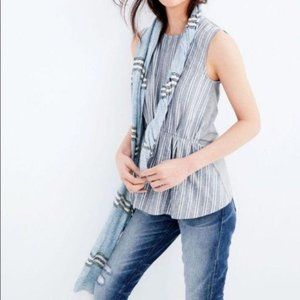 J Crew Cinched Chambray & White Sleeveless Top M